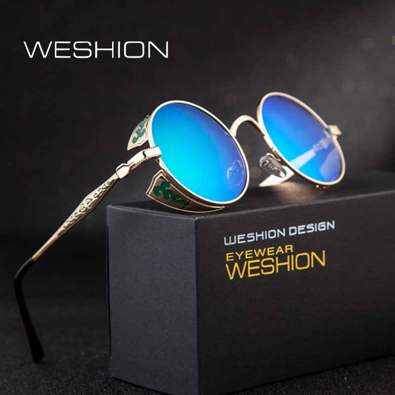 03103900dbfa Round Steampunk Sunglasses Polarized Men Sunglases Women Goggles 2018 Brand  Design Punk Oculos Gothic Shades Gafas