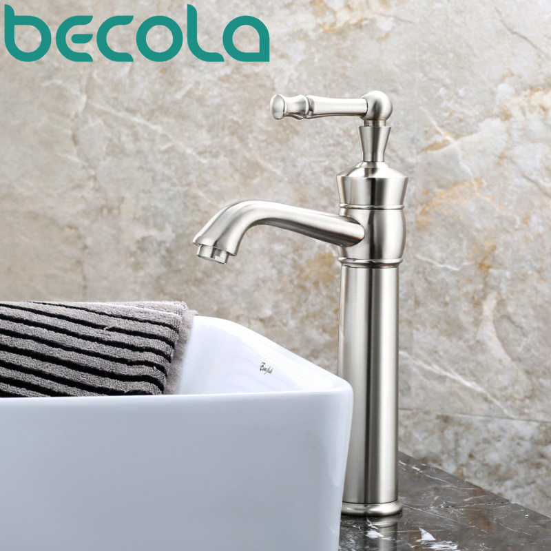 free shipping becola new design brushed nickel brass faucet high quality bathroom basin tap deck mounted LH-553L free shipping new design high quality brass material single lever basin faucet