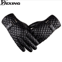 [Dexing]Black winter gloves men leather Mittens Keep Warm Touch Screen Windproof Driving Gloves Male(China)