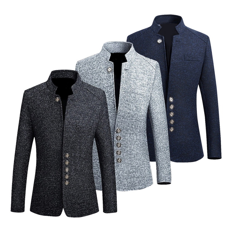 Blazer Men Jacket Coats Stand-Collar Slim-Fit Business Chinese-Style Vintage Male Casual