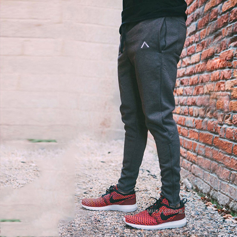 2018 Trouser Leg Zipper Mens Pants Bodyboulding Cotton Clothing Street Trousers Fitness Jogger Sweatpants Casual Sweat Pants