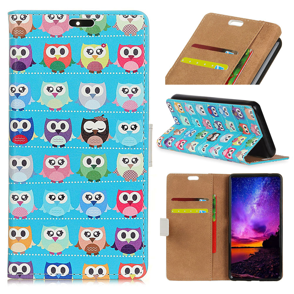 For Wiko Lenny4 5.0 Case Cute Cartoon Owl Tribal Design Stand Wallet PU Leather Flip Coque Cover for Wiko Lenny 4 Case Fundas
