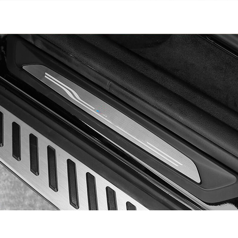 4 pièces revêtement d'habillage de plaque de seuil de seuil de porte en acier inoxydable pour BMW X1 F48 2016-2017