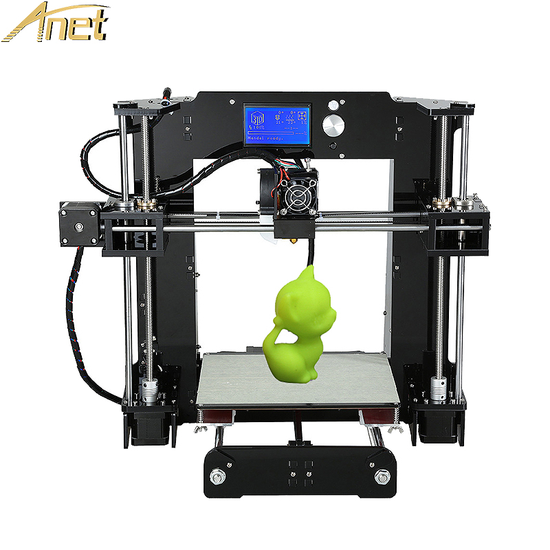 Anet A6/A8 Aluminium Hotbed High Precision Desktop Reprap i3 3d Printer Kit DIY With Free 10m Filament TF Card+ LCD Screen anet a2 high precision desktop plus 3d printer lcd screen aluminum alloy frame reprap prusa i3 with 8gb sd card 3d diy printing