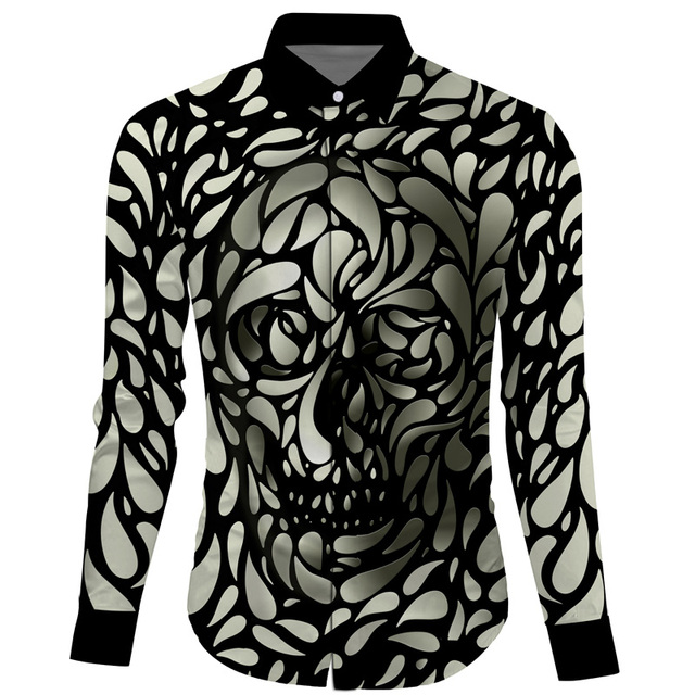 Cloudstyle 2017 New Design 3D Casual Shirts Men 3D Skulls Print Long-sleeves Turn-down Collar Mens Shirt Slim Fit Leisure