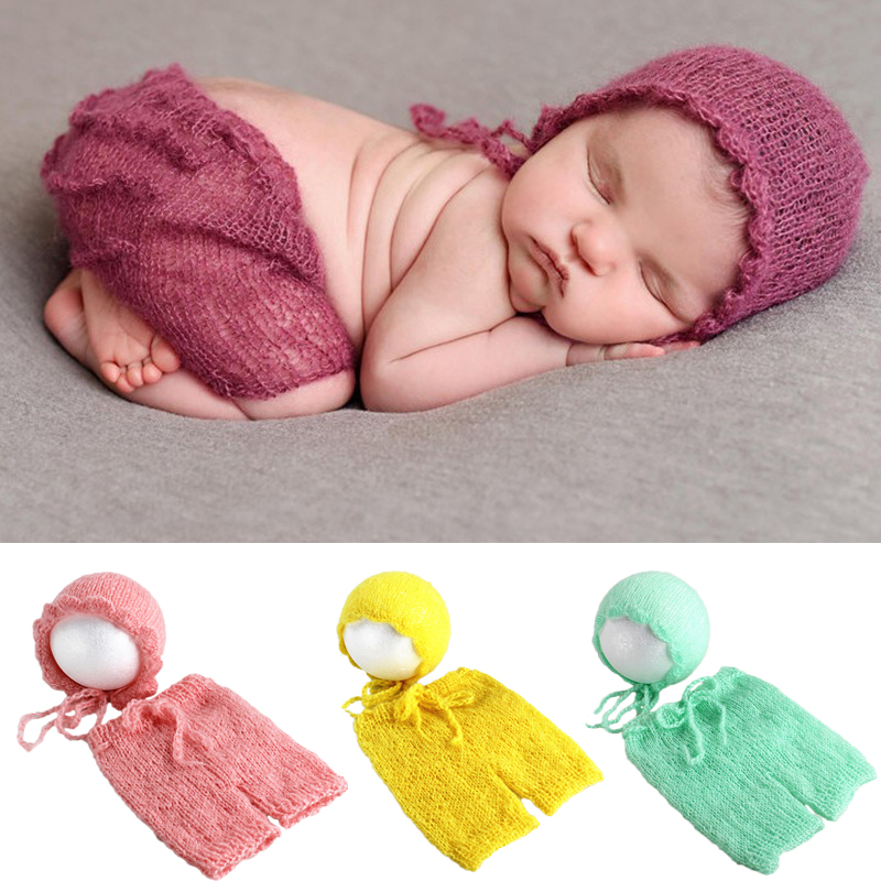 69303b6b014 Soft Mohair Newborn Photography Props Costumes Cap Hat+Ruffles Pants 2pcs Set  Baby Knitted