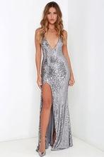 XS-XXL 6 Plus Size New Arrival Designer 2016 Fashion Women Dress Party Sexy Elegant Split Back Sequined Bodycon Dress SM15QL335