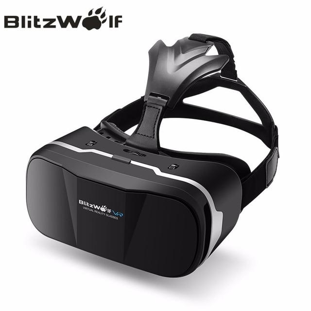 e8380375c BlitzWolf الأصلي 3D VR نظارة الواقع الافتراضي سماعة HeadMount غامرة الفيلم  لفون ل سامسونج 3.5-