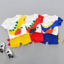 Pudcoco Summer Kids Clothing Boys Baby Clothes Set Dinosaur Cartoon T-Shirt Shorts Toddler Clothes Boys 2Pcs Sets Casual 0-4Y цена