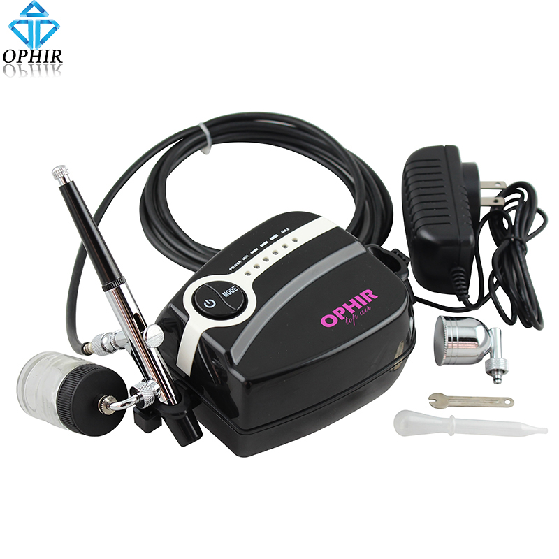 OPHIR Free Shipping 0.3mm Dual-Action Airbrush Spray Paint  Adjustable White Mini Air Compressor Kit Makeup Nail_AC094W+AC005