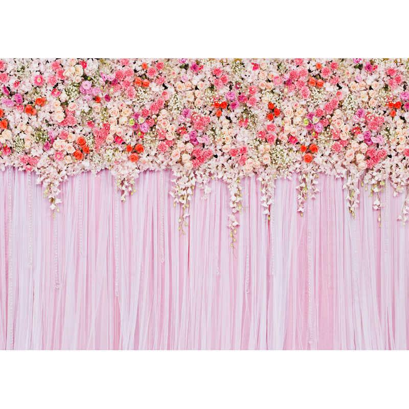 Vinile sottile panno Stampata photography sfondo fiore di cerimonia nuziale contesti per photo studio 7X5ft F-1617
