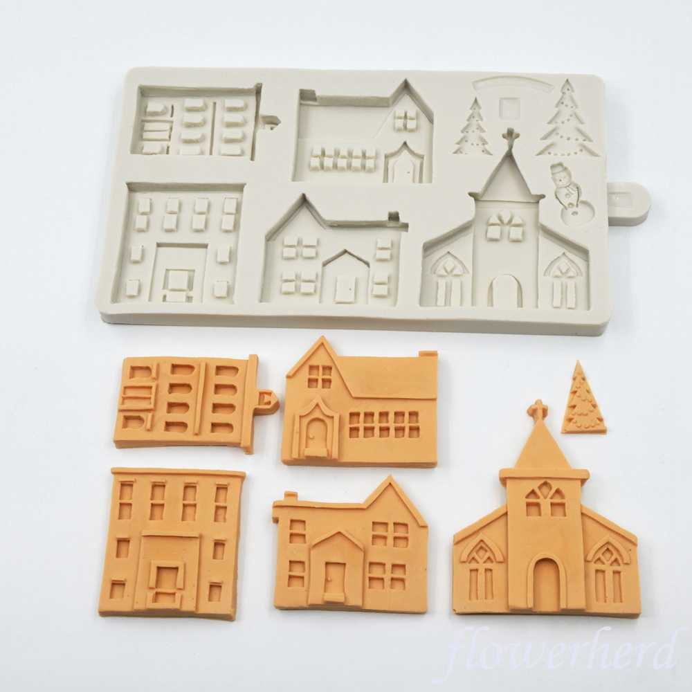 Polymer Clay Christmas Village.Winter Village Silicone Mold Diy 3d Christmas House Fondant
