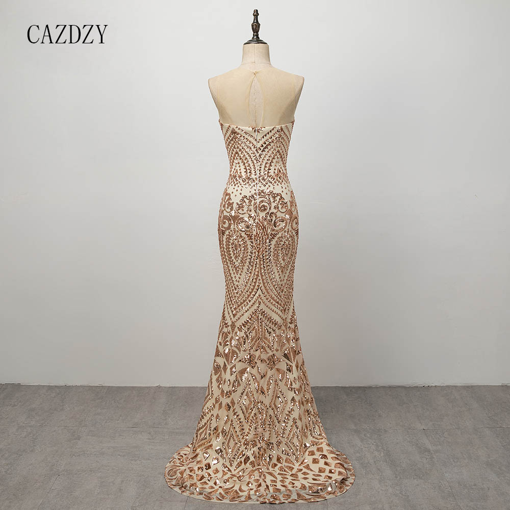 61462dff2b37a US $125.1 |CAZDZY 2018 Golden Mermaid Long Prom Dresses Party Dress with  Sequins-in Prom Dresses from Weddings & Events on Aliexpress.com | Alibaba  ...