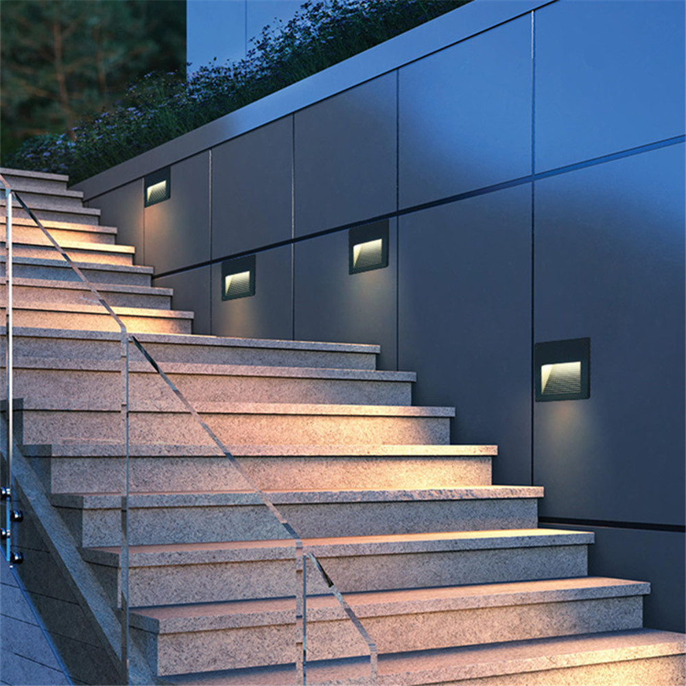 Image 5 - 2pcs/lot  Indoor/Outdoor Led step Stair Lights Waterproof Wall Lamps 3W Led Floor Night Lighting with 86 mounting Boxstair lightwall lampwaterproof wall lamp -