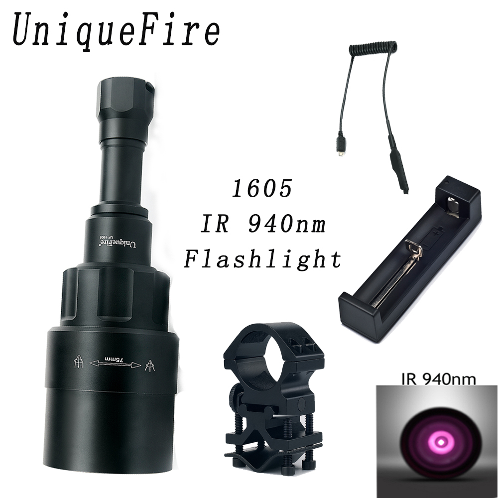 UniqueFire 1605 IR 940NM LED Flashlight 75mm Lens Infrared Light Night Vision Torch Rechargeable Whole SET For Hunting uniquefire 1605 ir 940nm led flashlight 38mm lens infrared light night vision troch adjustable rechargeable for hunting kit set