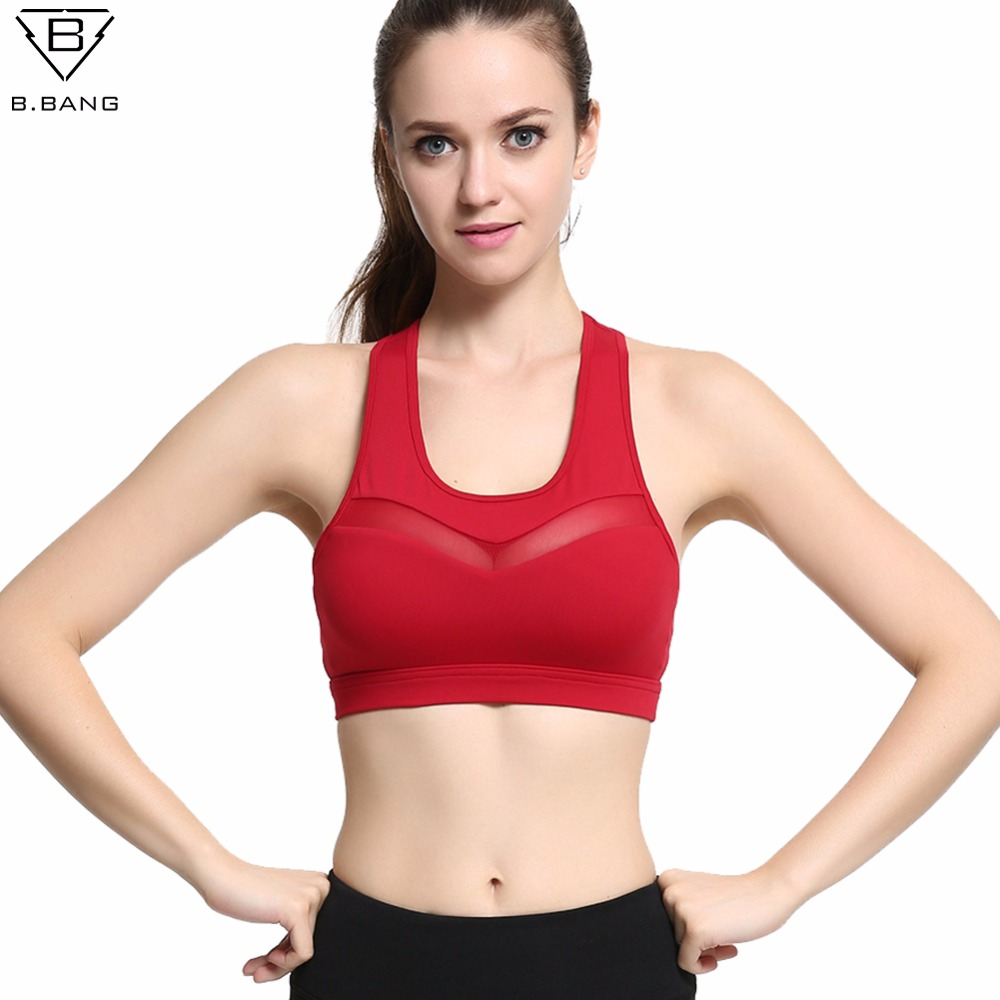 63113ce4da B bang sexy sports bra transparent quick fitness training women yoga bra  push up seamless breathable