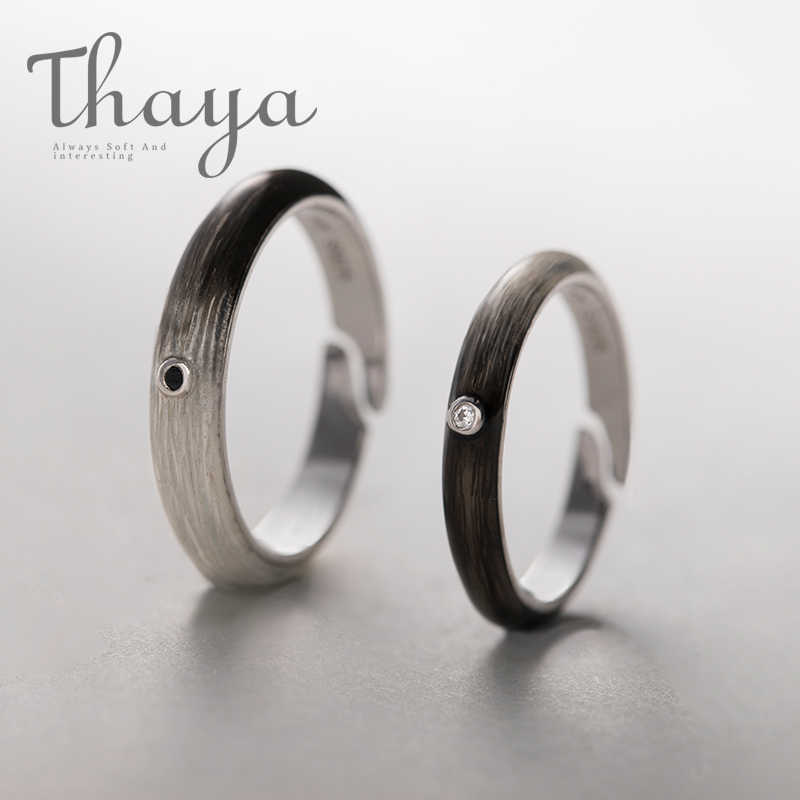 Thaya สีดำสีขาว Gradient แหวนที่กำหนดเองแกะสลักข้อความลายเซ็น s925 แหวนเงินผู้หญิง Unisex Promise Love เครื่องประดับ