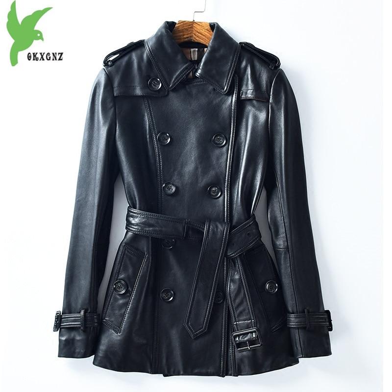 Sheepskin Coat Womens 2018 Autumn Genuine Leather Trench coat Female Plus size Button Belt Slim Black Natural leather Tops 2116