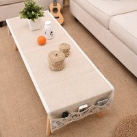 Stylish Table Cover Decoration Rectangular Pure Linen Tea Table Cloth Home Decorative Table Cloth with Three Pockets Size S/M/L