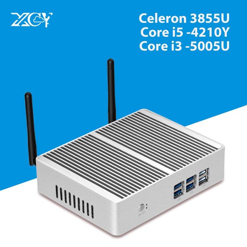 XCY Windows Mini PC Core I5-4210Y I3 5005U Fanless 480G SSD TV Box HDMI VGA USB3.0 WiFi Thin Client Desktop Computer