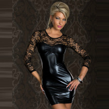 OY31 2016 sexy babydolls for women Long Sleeves Lace black mesh transparent faux leather sex dress sexy lingerie plus size