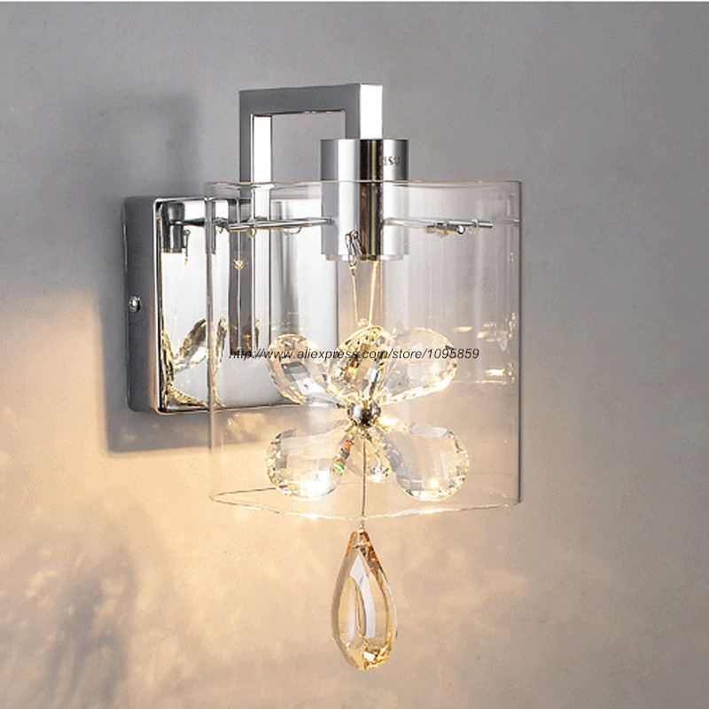 Modern Butterfly Crystal LED Wall Light Clear Glass Chrome Bedroom Living Room Wall Lamp Sconces Fixture modern lustre chrome metal led wall lights creative wifi model crystal bedroom led wall lamp corridor led lighting light fixture