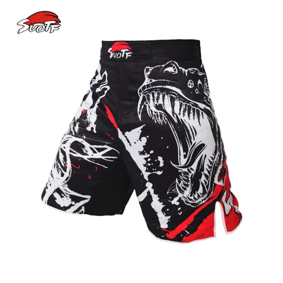 Prix pour SUOTF noir d'encre style dominateur crier lutte MMA fitness respirant shorts de boxe Tiger Muay Thai mma bon marché shorts boxeo