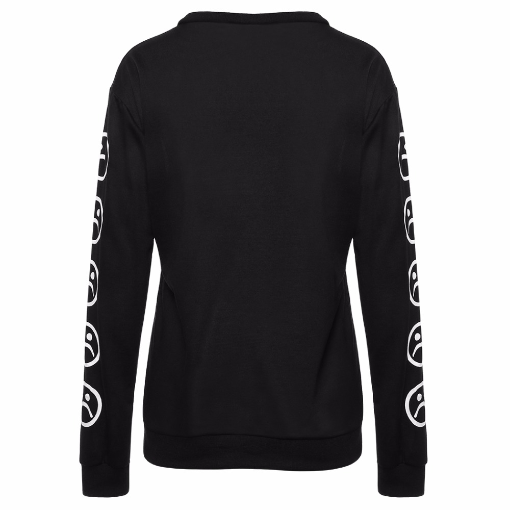 2017 fashion hot sale Faces Sad Emoticon Sleeve Printed Keyboard Sweat Black White Tumblr Winter Hoodies Tracksuits Clothing