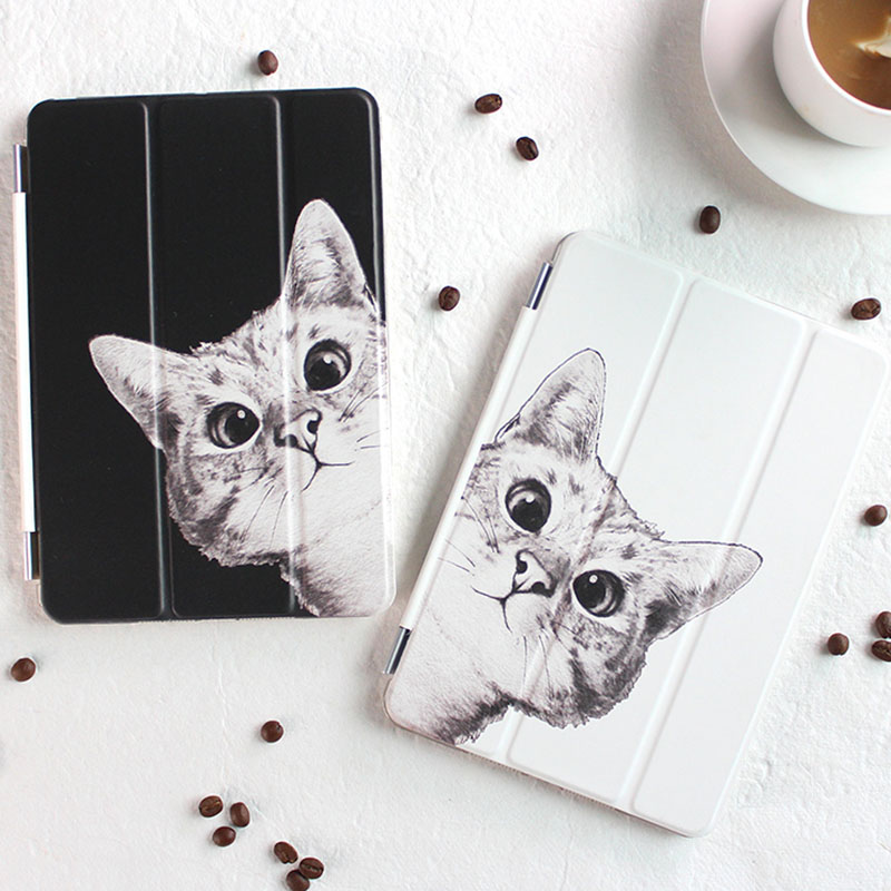 Case for Ipad Mini 4 Fashion Sketch Cat Series Auto Sleep /Wake Up Flip PU Leather Case for Ipad Mini 4 Smart Stand Cover protective pu pc flip open case w stand auto sleep for retina ipad mini black