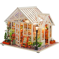 DIY Doll Houses Furniture LED Lights Wooden Dollhouse Handmade Miniature Flower Shop Model For Children Christmas