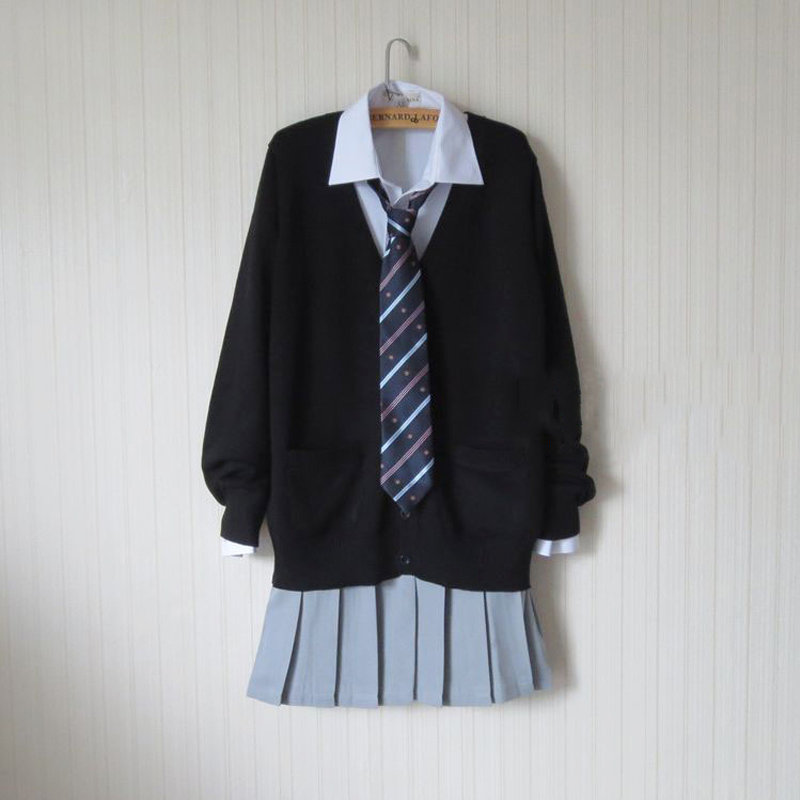 JK British Black Sweater Cardigan Sweater Harajuku Japanese School Uniform Sweater+Shirt+Skirt+Tie Cosplay Costume Wmen New Накомарник