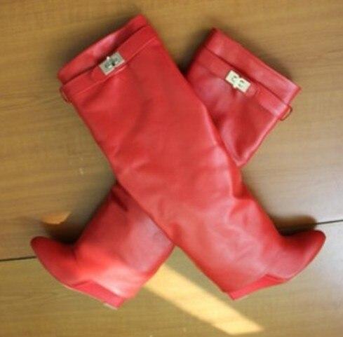 Femmes de luxe marque genou bottes hautes concis en métal décoration robe bottes ceinture boucle Wedge talon bottes gladiateur chaussures US10 - 4