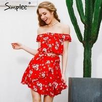 Simplee Two Piece Beach Chiffon Red Summer Dress Women 2017 Vintage Party Short Dress Off Shoulder