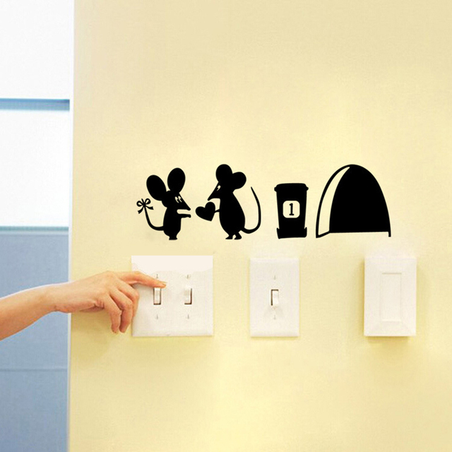 Free Shipping Wall Sticker Cute Jerry Mouse and Hole Wall Mural Home ...