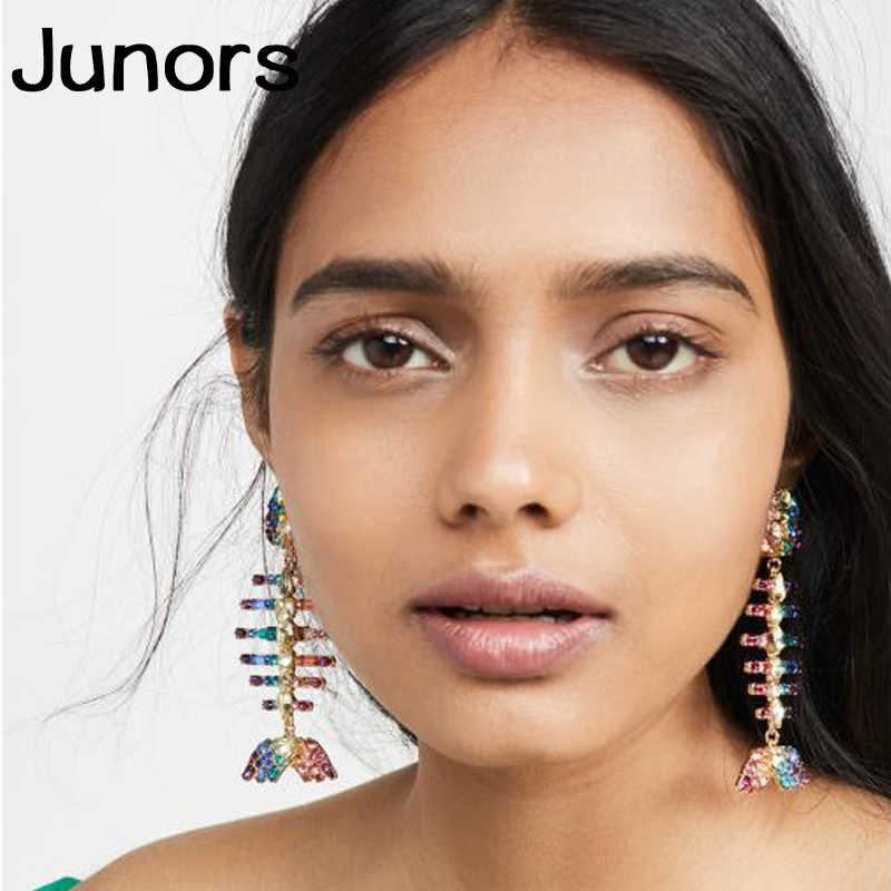 colors crystal fish women earrings 2019 animals hyperbole fashion jewelry big statement Hanging drop earrings for women gifts in Drop Earrings from Jewelry Accessories