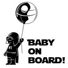 14.6*15CM Cool Boy Play Role Playing Funny BABY ON BOARD Car Styling Sticker Creative Car Window Decal Black/Silver C9-0025