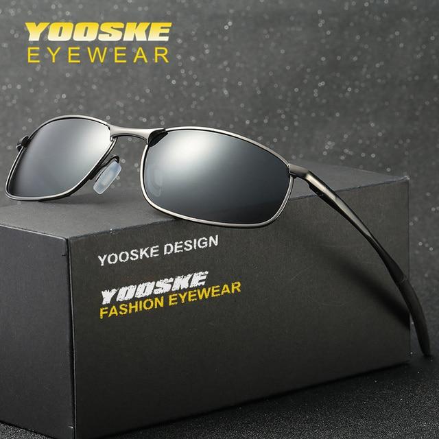 7d73904ffd063 YOOSKE Polarizada Óculos De Sol Dos Homens Da Marca Designer de Retângulo  Quadrado Óculos De Sol