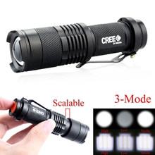 Skid-Proof Design Mini Waterproof 1200LM CREE Q5 Zoomable Powerful LED Flashlight Hiking Torch Lamp 3 Modes Adjustable Focus