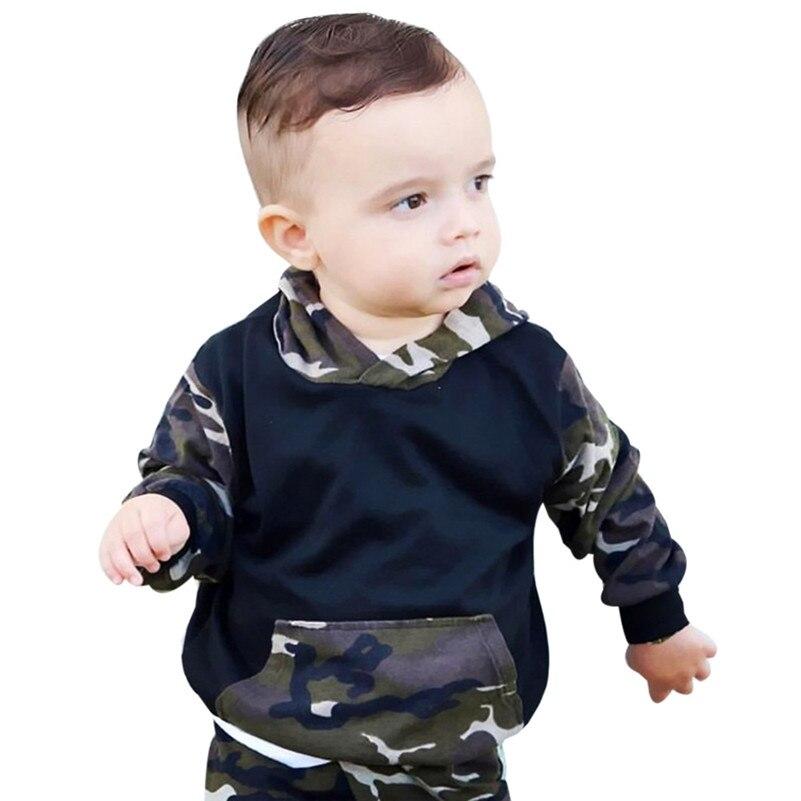 Winter 2018 kinder kleidung neue stil 2 stücke Kleinkind kind Jungen Kleidung Set Camouflage Mit Kapuze Tops + Hosen Outfits für baby QC3
