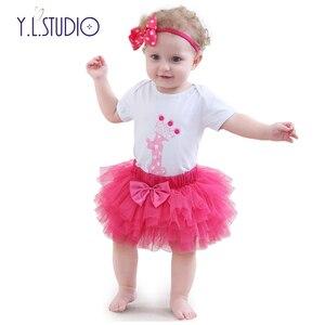 Baby Girl ubrania zestawy odzieży letniej bawełna druku dzieci uwielbiają Romper Tutu łuk nakrycia głowy urodziny fotografii 3 sztuk zestawów noworodka