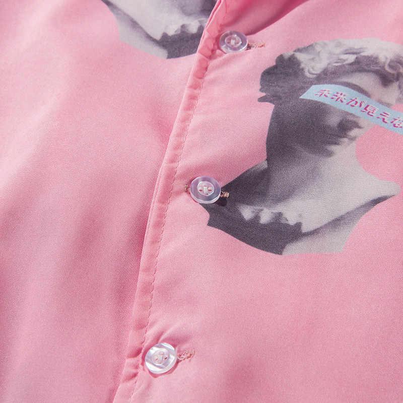 Мужская одежда 2019 полный печатный отложной воротник с коротким рукавом рубашки мужские женские японские уличные Гавайские платья рубашки харадзюку