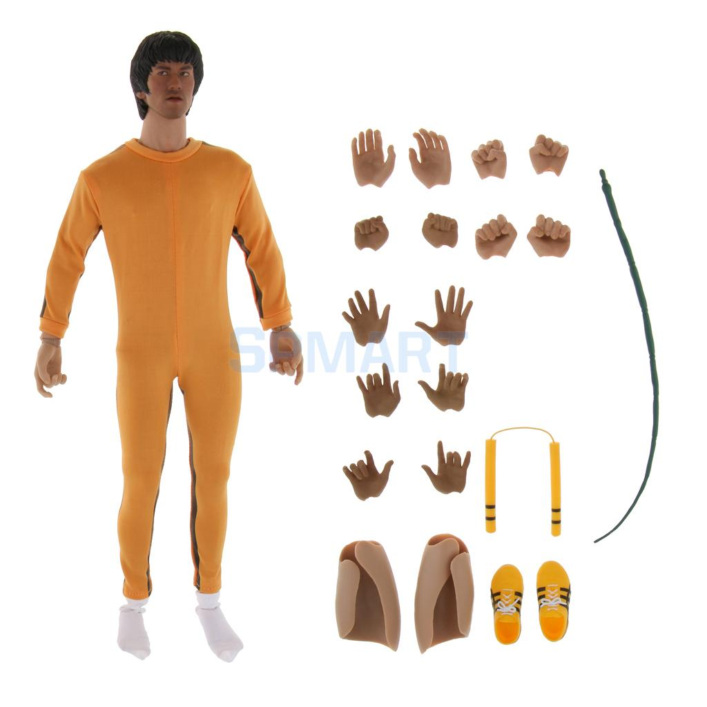 1/6 Scale Body Head Sculpt and Kung Fu Suit with Accessories for 12'' Enterbay Action Figure Game of Death 1 6 figure doll head shape for 12 action figure doll accessories game of death bruce lee head carved not include body clothes