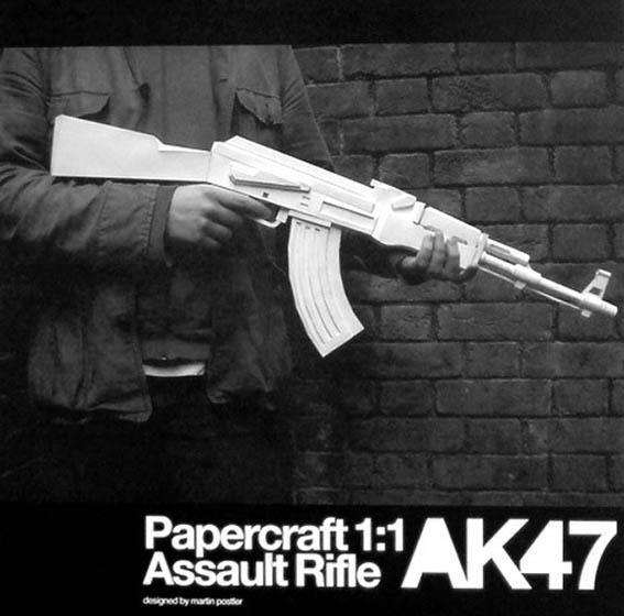 White Ak47 Paper Model Weapon 3D 3D Hand-made Drawings, Firearms, Military Paper Jigsaw Puzzle Toys