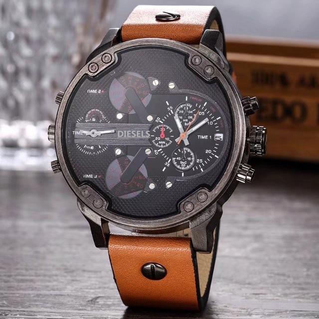 2019 Multi Time Zone Wristwatch Military Clock Leather Strap 53MM Big dial DZ Stainless steel Watch Men's Sport Quartz diesels