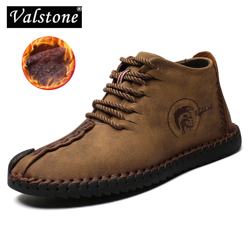 Valstone 2019 Winter Men's Leather Casual  Shoes Large Size 48 Vintage Frosty Boots High-Top Warm Sneaker Khaki Black Golden Man