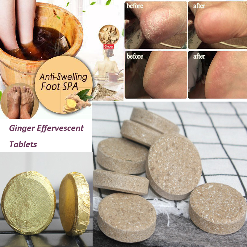 Anti-Swelling Foot SPA Ginger Foot Soak Effervescent Tablets Treatment For Foot Swelling Edema Ankle And Pain