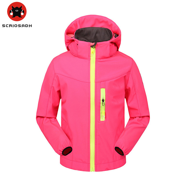 c9994d3eb6 Boys Girls Fleece Thermal Coats Spring Soft shell Outdoor Sports Children s  Windproof Waterproof Jacket Kids Skiing Windbreaker