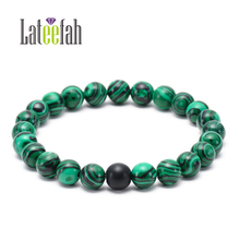 Lateelah Fashion Jewelry Stone Bracelet for Men Green Stretchy Stone Bracelet Bracelet Stone Natural Male for Unisex 53 62mm physical photo natural burma stone green all green bracelet spinach green bracelet appraisal certificate gift boxes