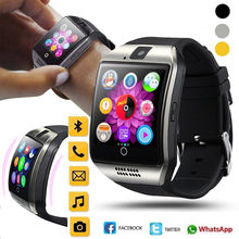 2018 Bluetooth Smart Watch Men Q18 With Touch Screen Big Battery Support TF Sim Card Camera for Android Phone Smartwatch F0(China)