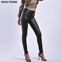 Sexy Warm Thick Fleece Black Leopard Pants Women Stretch High Waist Ladies PU Faux Leather Jeans Skinny Plus Size Pencil Pant